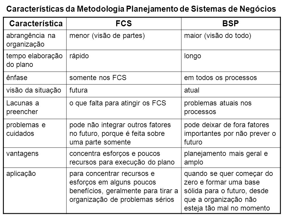 Características da Metodologia Planejamento de Sistemas de Negócios