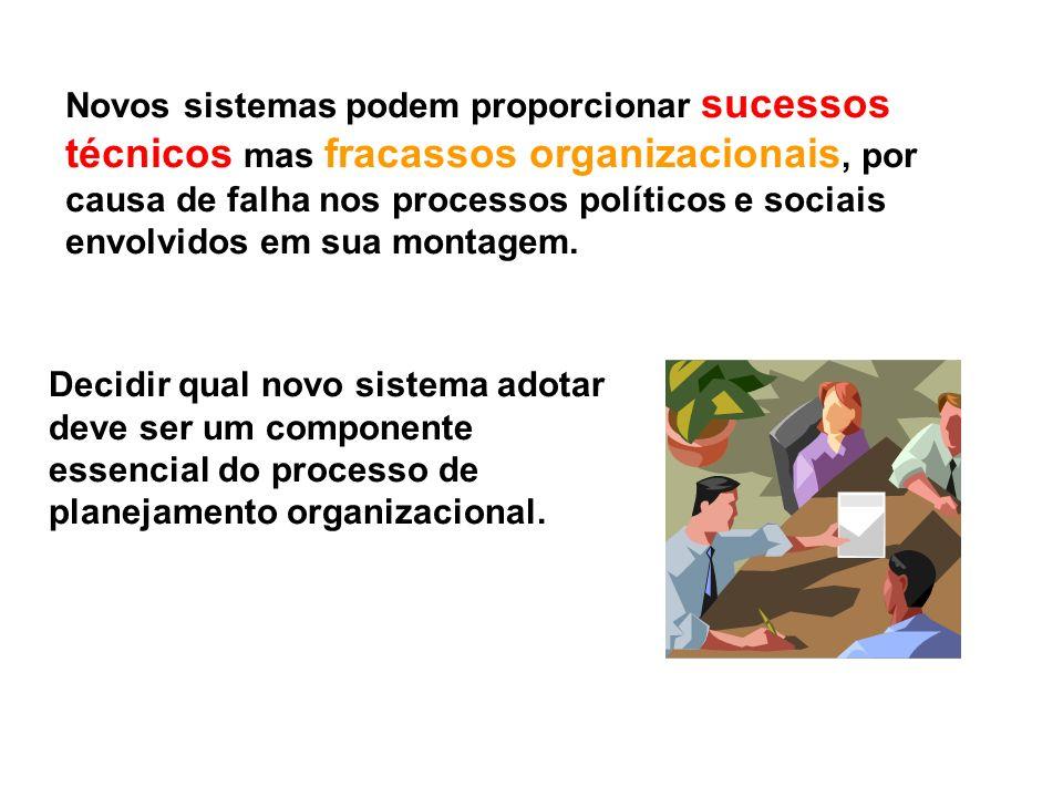 Novos sistemas podem proporcionar sucessos técnicos mas fracassos organizacionais, por causa de falha nos processos políticos e sociais envolvidos em sua montagem.