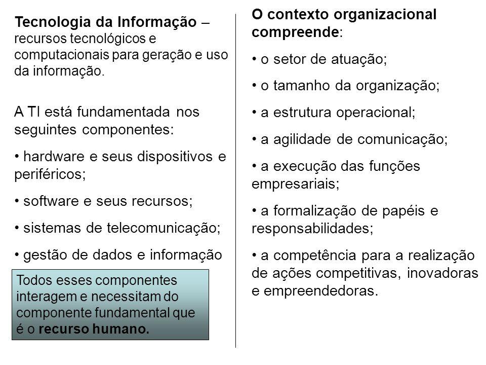 O contexto organizacional compreende: o setor de atuação;