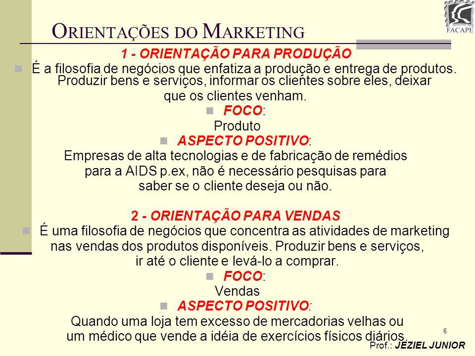 ORIENTAÇÕES DO MARKETING