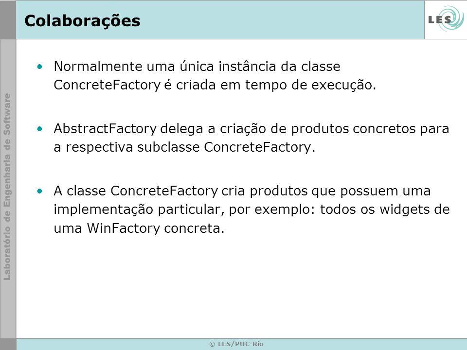Colaborações Normalmente uma única instância da classe ConcreteFactory é criada em tempo de execução.