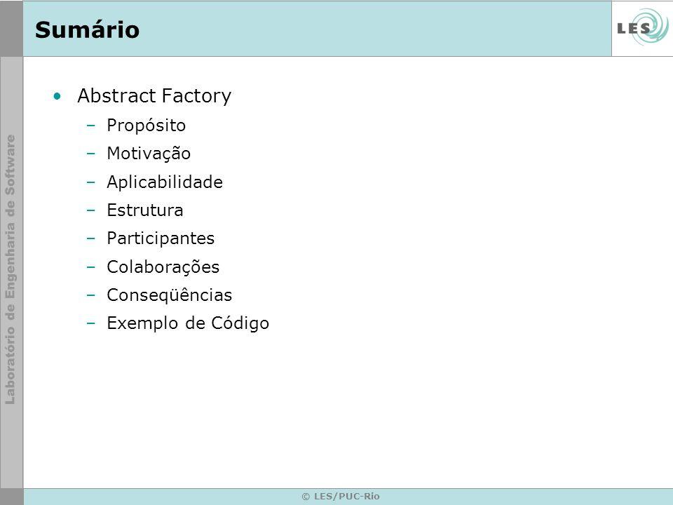Sumário Abstract Factory Propósito Motivação Aplicabilidade Estrutura