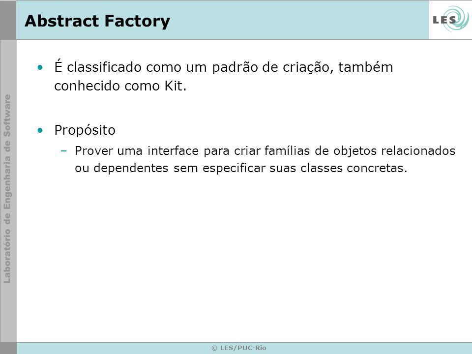 Abstract Factory É classificado como um padrão de criação, também conhecido como Kit. Propósito.
