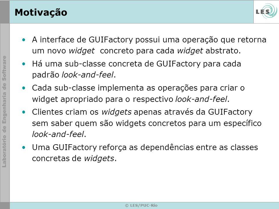 Motivação A interface de GUIFactory possui uma operação que retorna um novo widget concreto para cada widget abstrato.