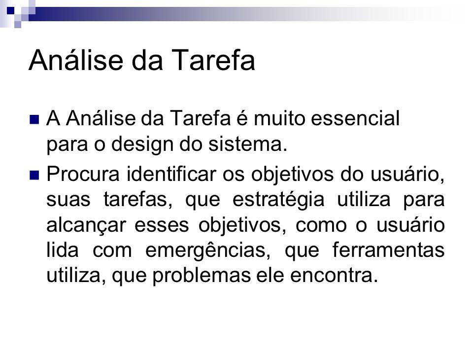Análise da Tarefa A Análise da Tarefa é muito essencial para o design do sistema.