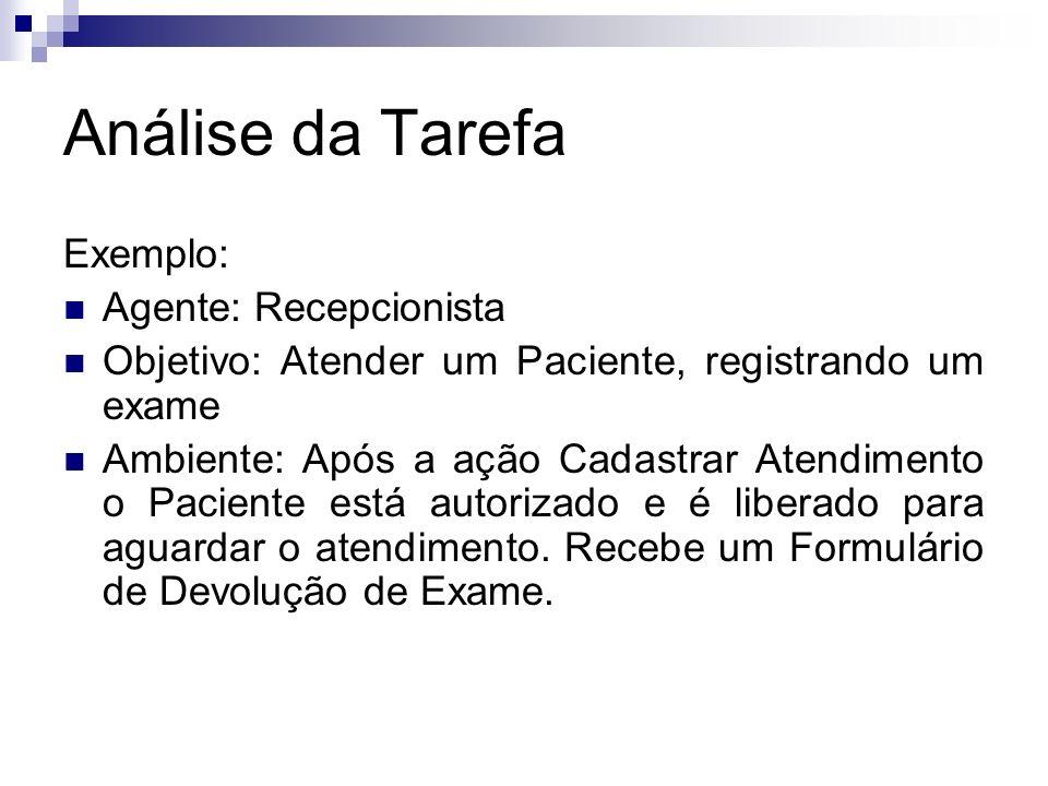 Análise da Tarefa Exemplo: Agente: Recepcionista