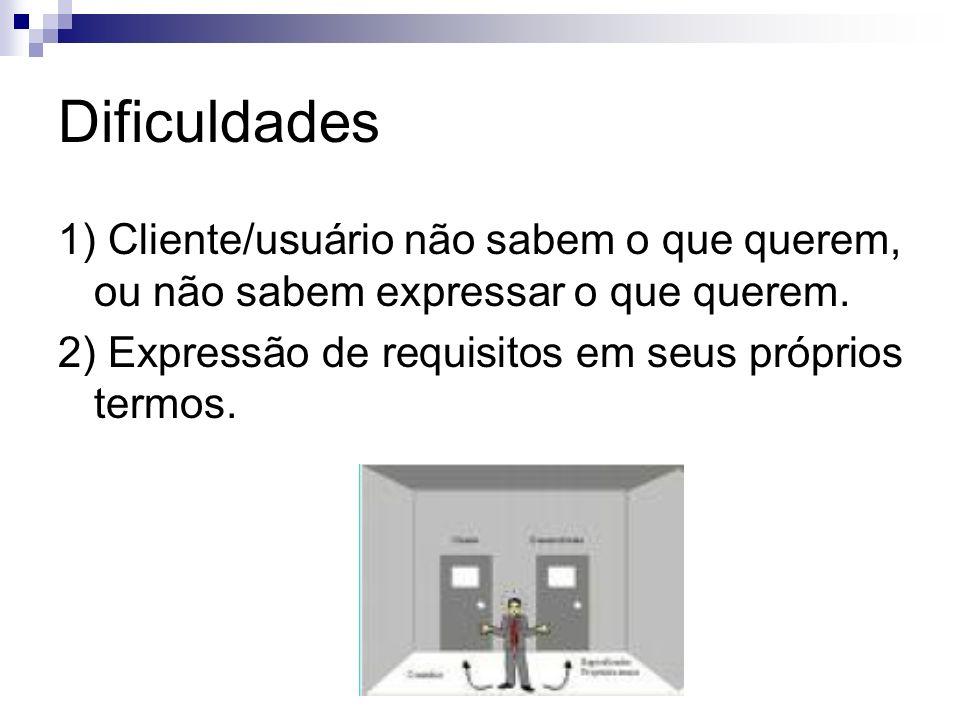 Dificuldades 1) Cliente/usuário não sabem o que querem, ou não sabem expressar o que querem.