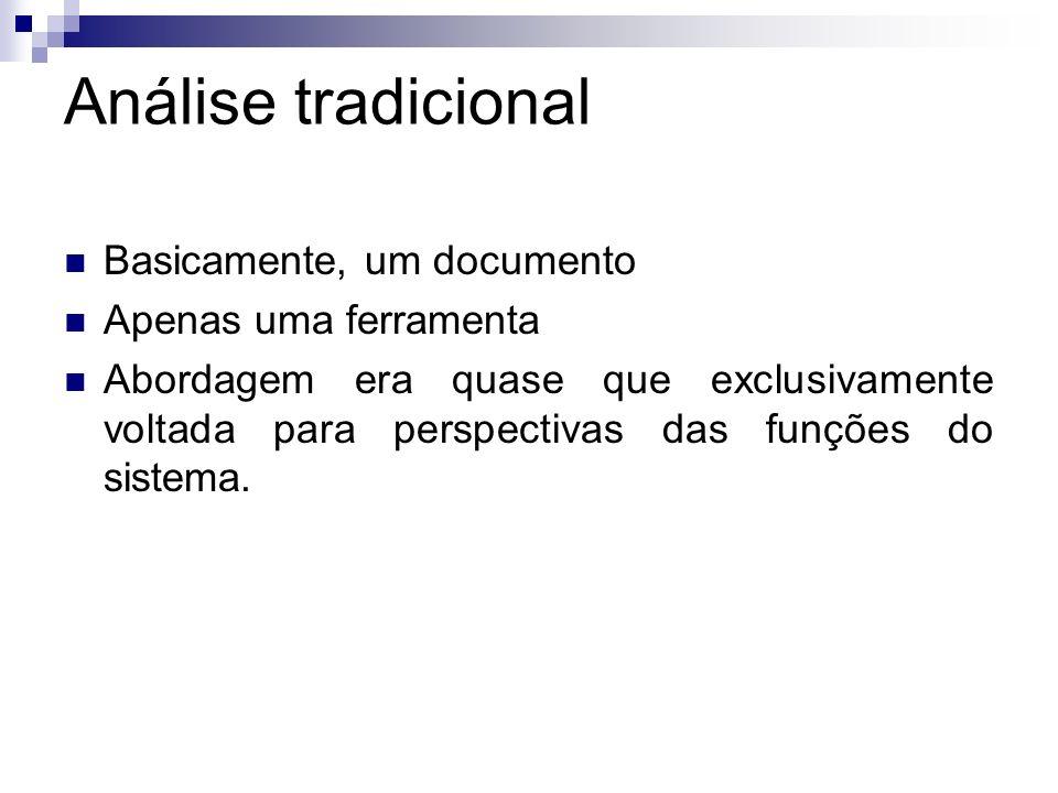 Análise tradicional Basicamente, um documento Apenas uma ferramenta