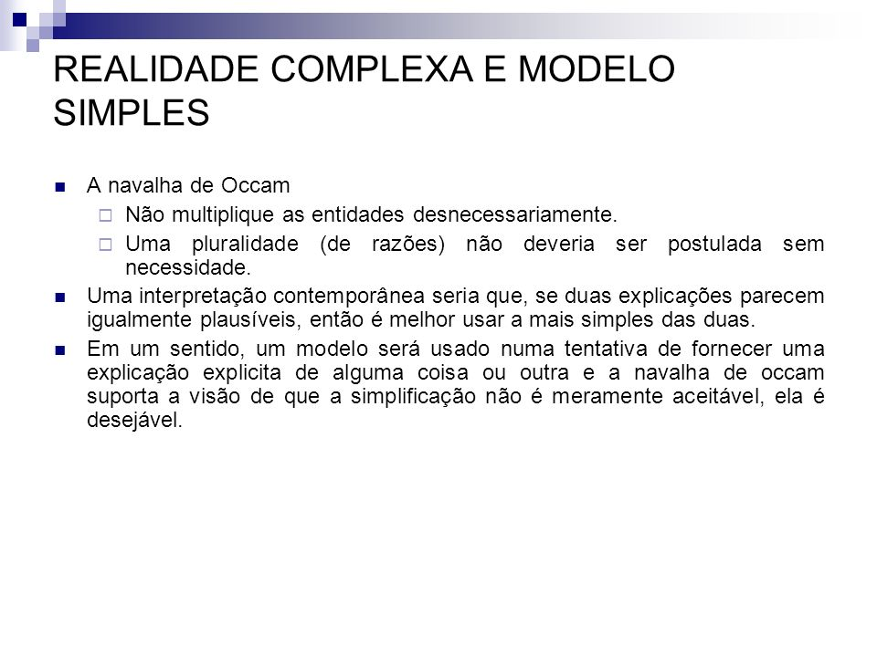REALIDADE COMPLEXA E MODELO SIMPLES
