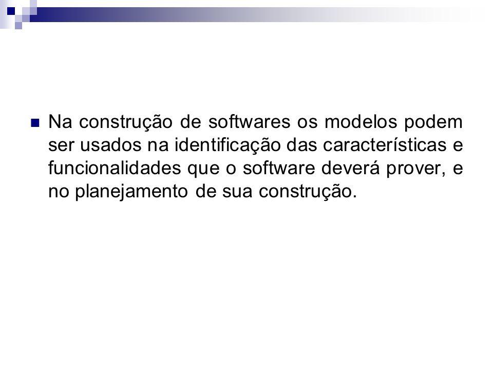 Na construção de softwares os modelos podem ser usados na identificação das características e funcionalidades que o software deverá prover, e no planejamento de sua construção.