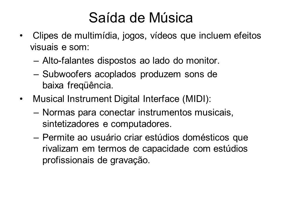 Saída de Música Clipes de multimídia, jogos, vídeos que incluem efeitos visuais e som: Alto-falantes dispostos ao lado do monitor.