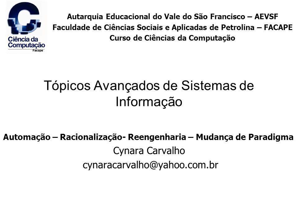 Tópicos Avançados de Sistemas de Informação