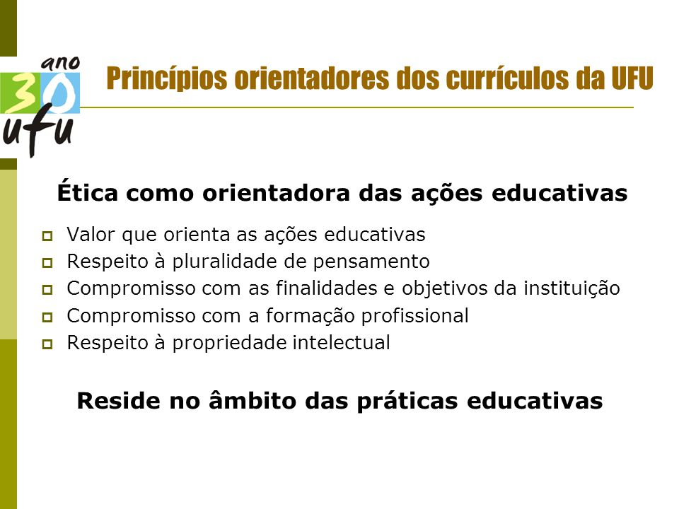 Princípios orientadores dos currículos da UFU