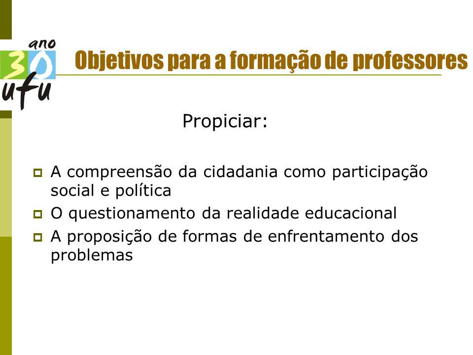 Objetivos para a formação de professores