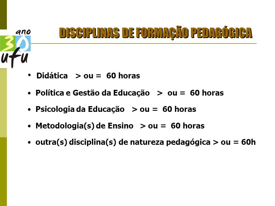 DISCIPLINAS DE FORMAÇÃO PEDAGÓGICA