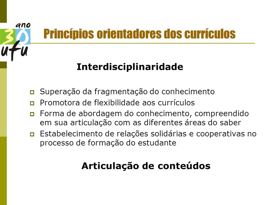 Princípios orientadores dos currículos