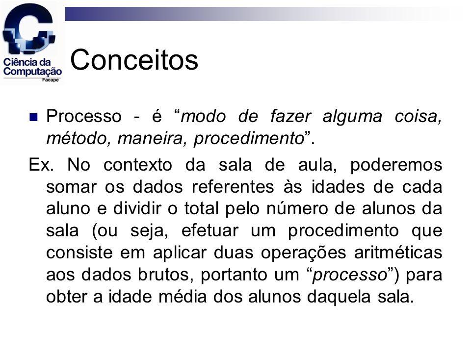 Conceitos Processo - é modo de fazer alguma coisa, método, maneira, procedimento .