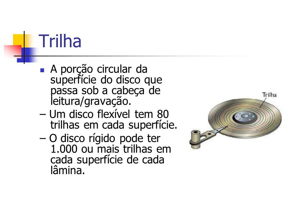 TrilhaA porção circular da superfície do disco que passa sob a cabeça de leitura/gravação. – Um disco flexível tem 80 trilhas em cada superfície.