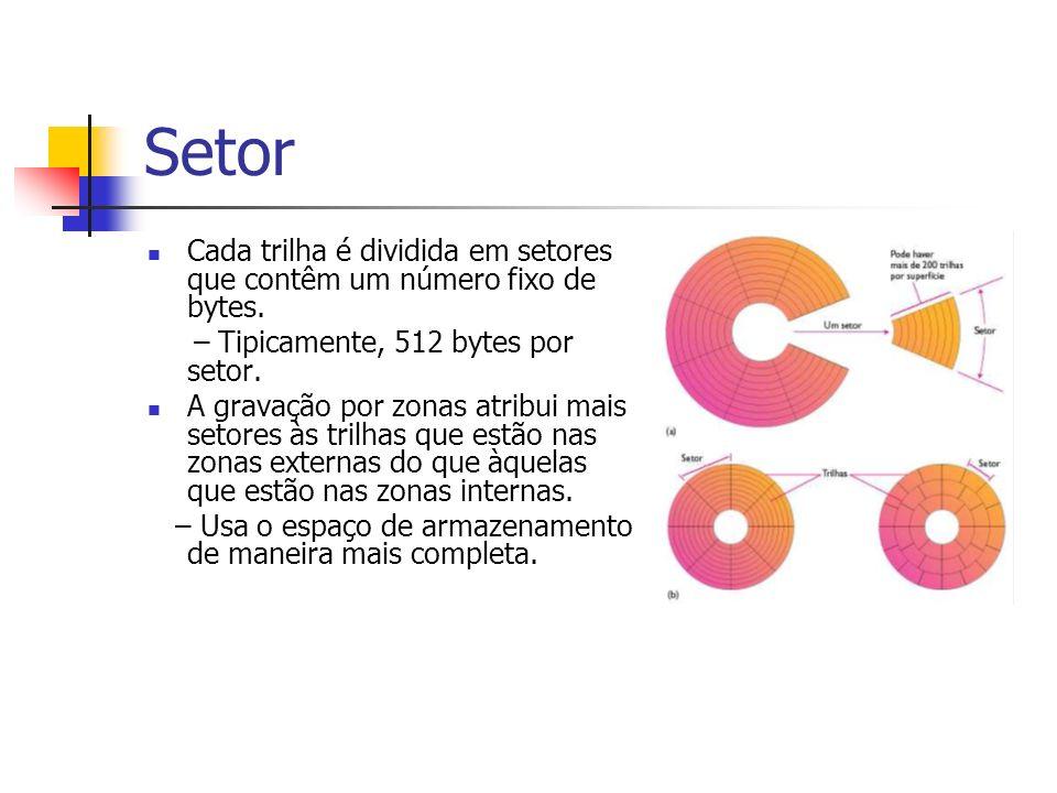 SetorCada trilha é dividida em setores que contêm um número fixo de bytes. – Tipicamente, 512 bytes por setor.