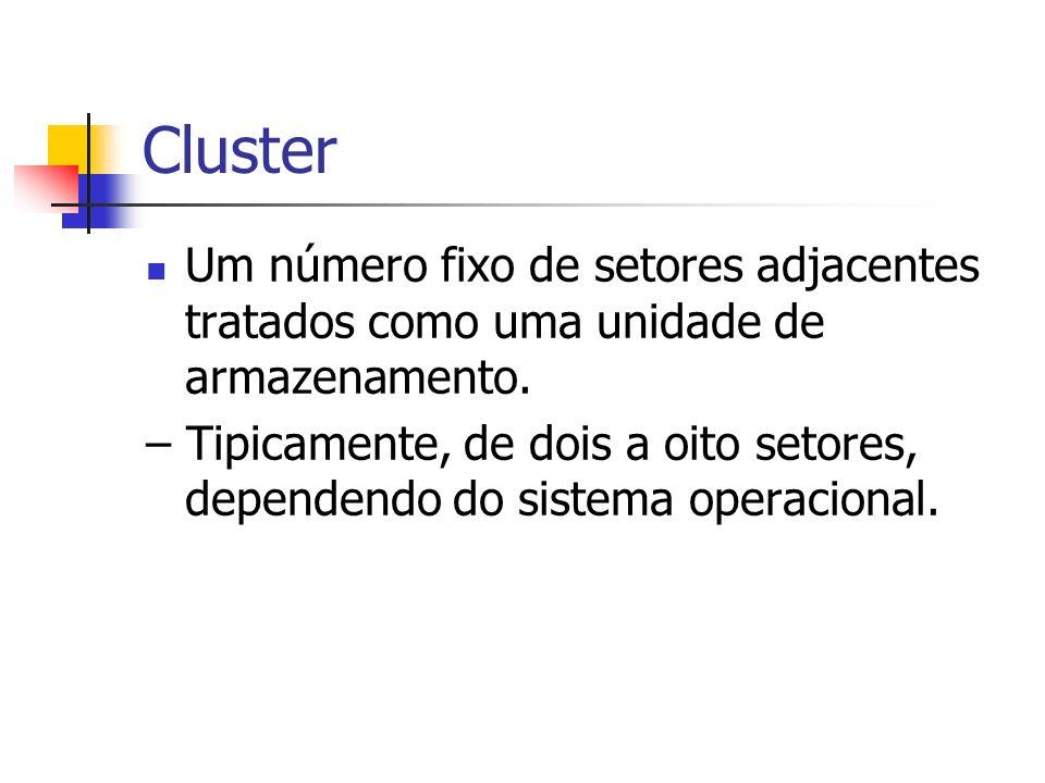 ClusterUm número fixo de setores adjacentes tratados como uma unidade de armazenamento.