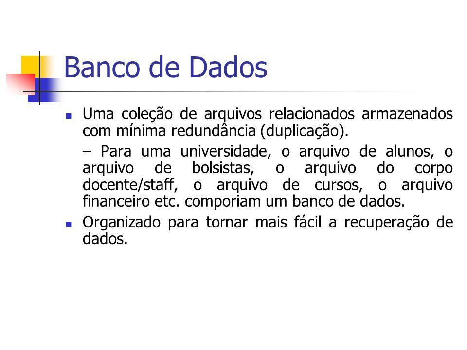 Banco de DadosUma coleção de arquivos relacionados armazenados com mínima redundância (duplicação).