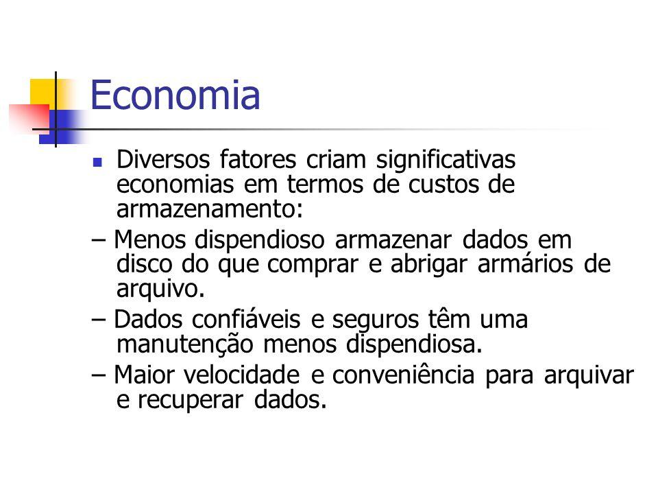 EconomiaDiversos fatores criam significativas economias em termos de custos de armazenamento:
