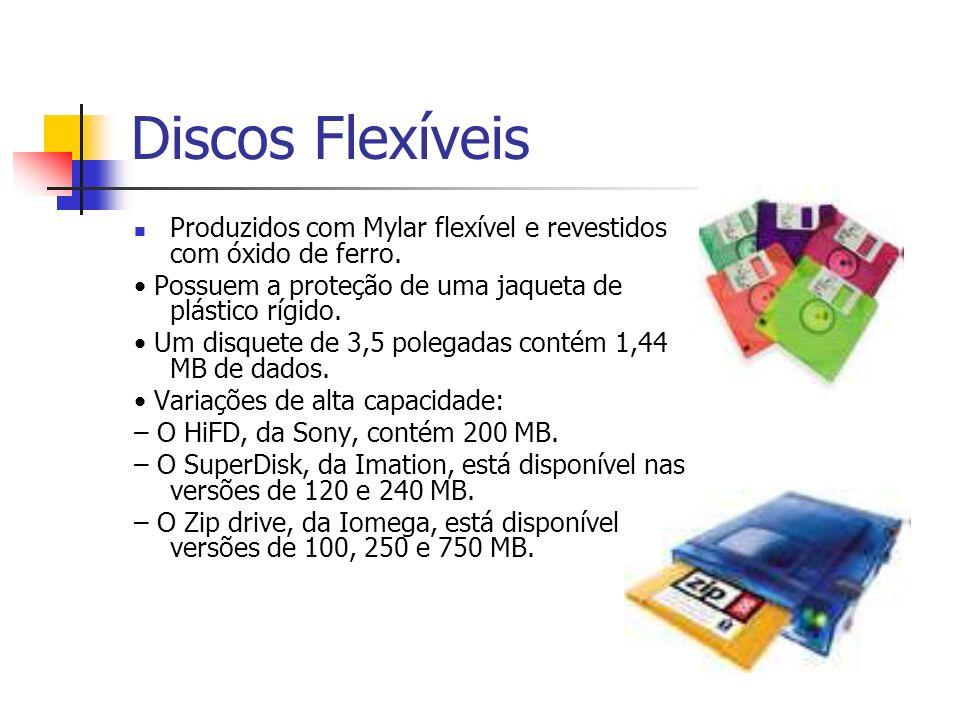 Discos FlexíveisProduzidos com Mylar flexível e revestidos com óxido de ferro. • Possuem a proteção de uma jaqueta de plástico rígido.