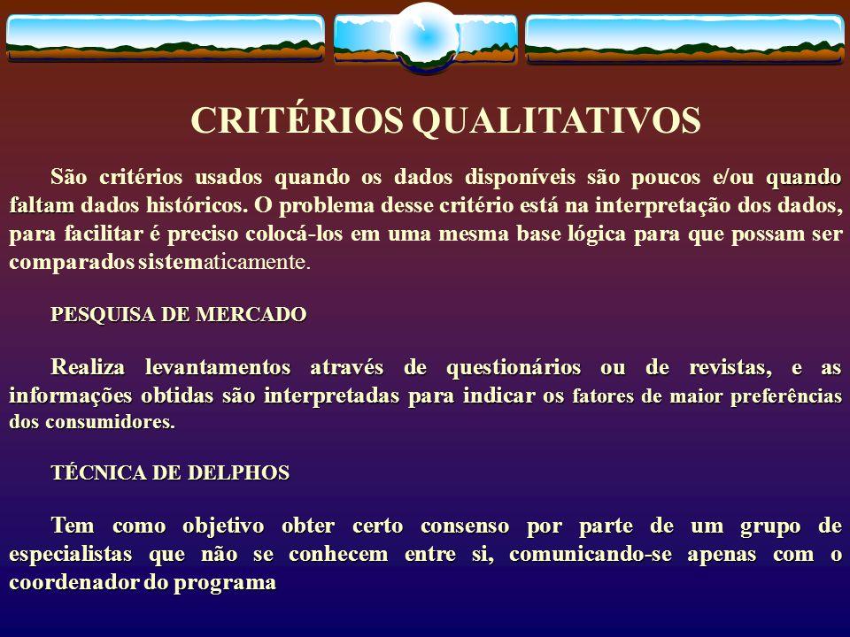 CRITÉRIOS QUALITATIVOS