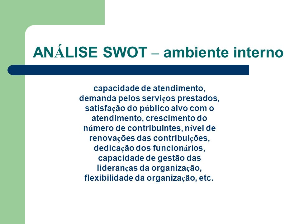 ANÁLISE SWOT – ambiente interno