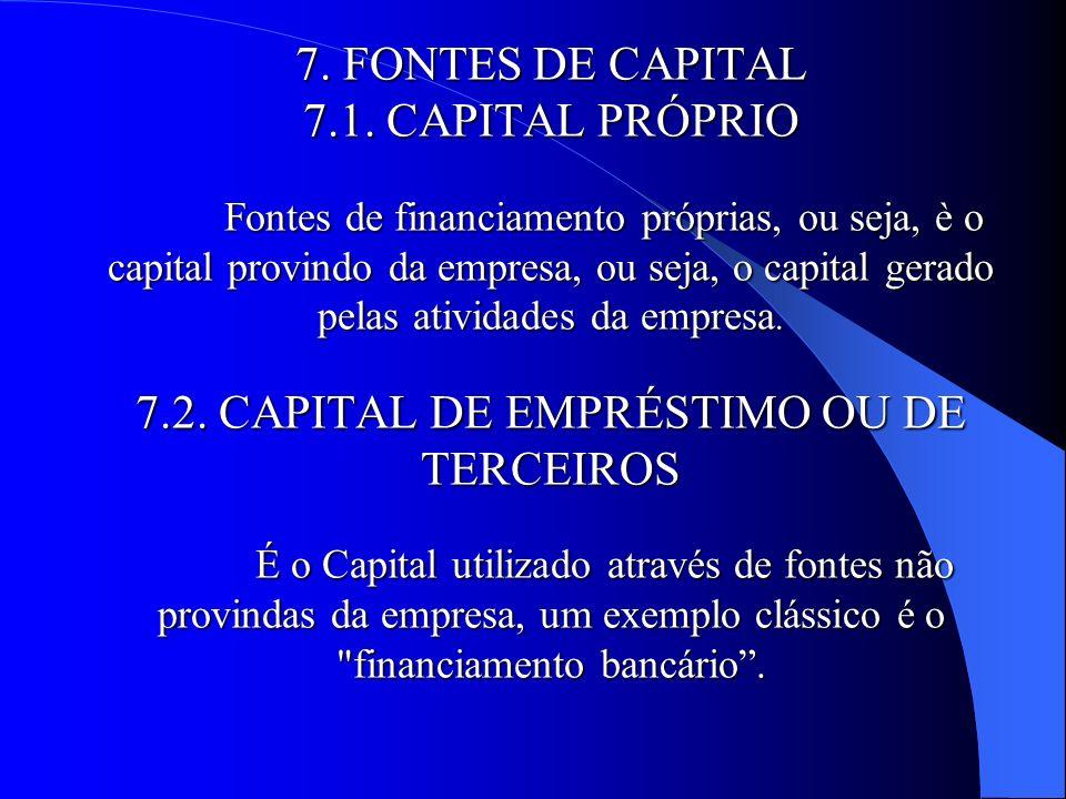 7. FONTES DE CAPITAL 7. 1. CAPITAL PRÓPRIO