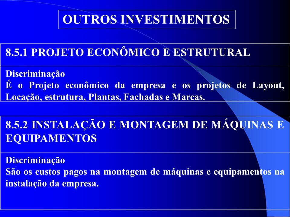 OUTROS INVESTIMENTOS 8.5.1 PROJETO ECONÔMICO E ESTRUTURAL