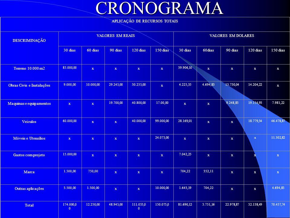 CRONOGRAMA APLICAÇÃO DE RECURSOS TOTAIS DESCRIMINAÇÃO VALORES EM REAIS