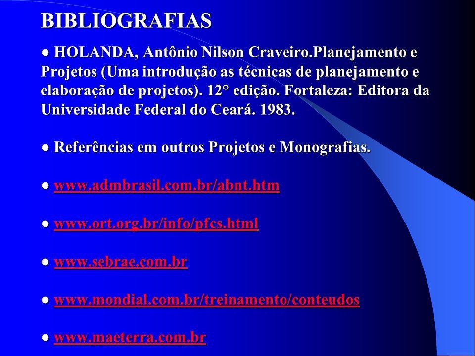 BIBLIOGRAFIAS ● HOLANDA, Antônio Nilson Craveiro