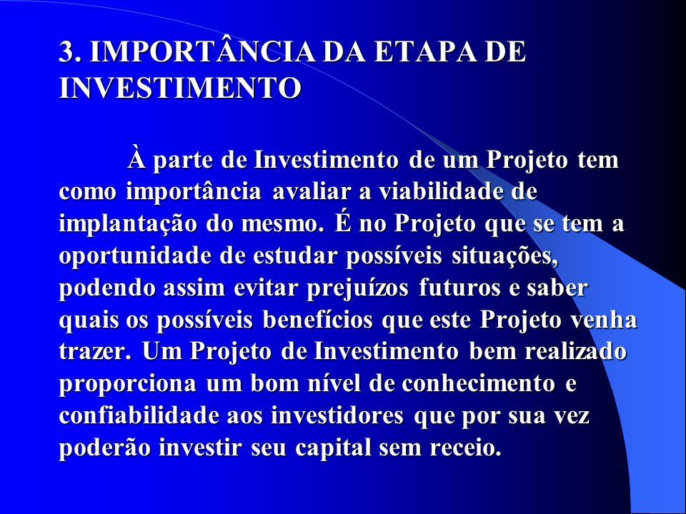 3. IMPORTÂNCIA DA ETAPA DE INVESTIMENTO