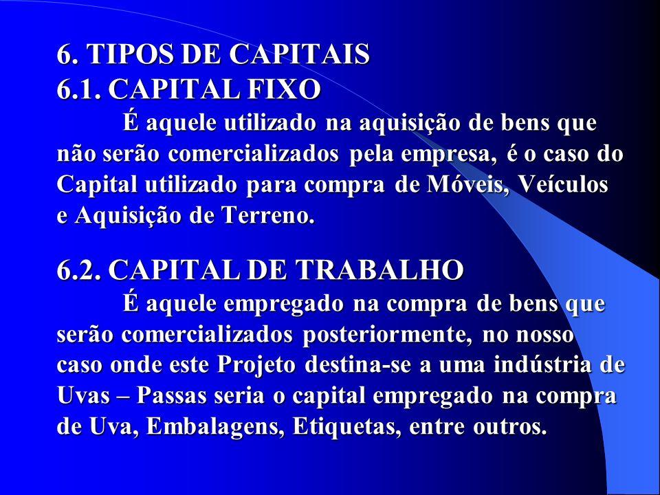 6. TIPOS DE CAPITAIS 6. 1. CAPITAL FIXO