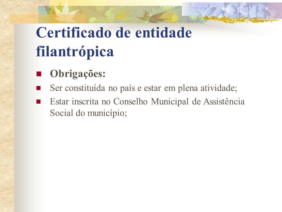 Certificado de entidade filantrópica