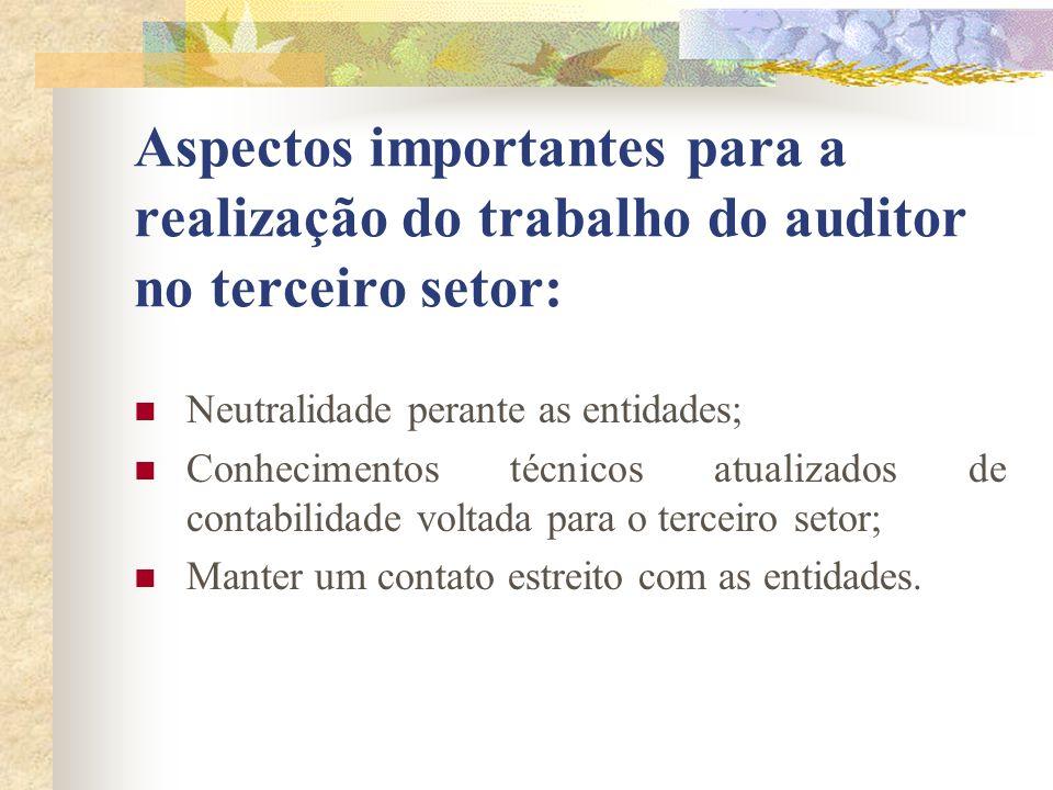 Aspectos importantes para a realização do trabalho do auditor no terceiro setor: