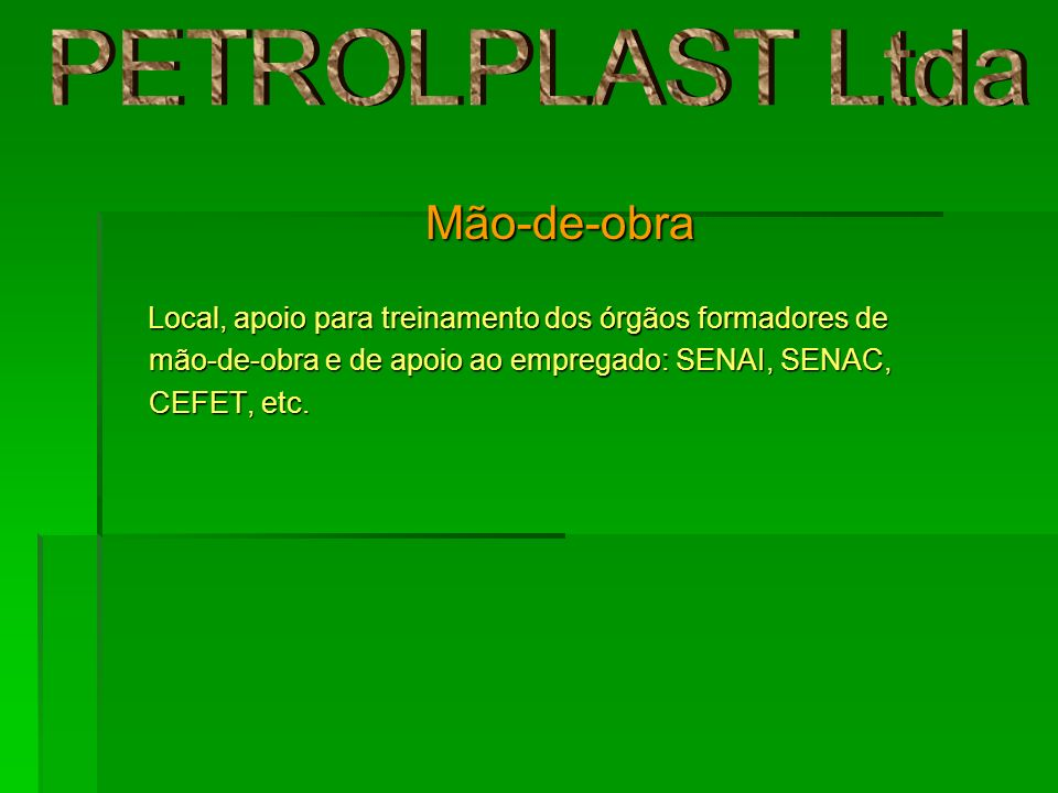 PETROLPLAST Ltda Mão-de-obra