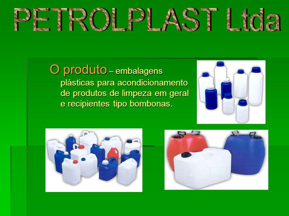 PETROLPLAST Ltda O produto – embalagens plásticas para acondicionamento de produtos de limpeza em geral e recipientes tipo bombonas.