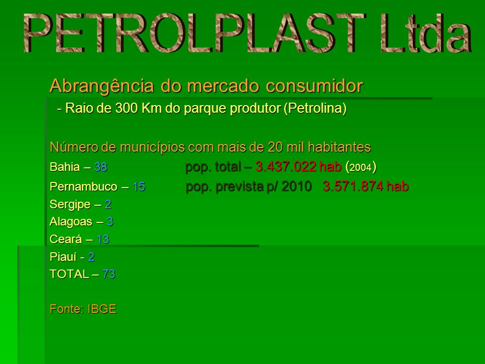 PETROLPLAST Ltda Abrangência do mercado consumidor
