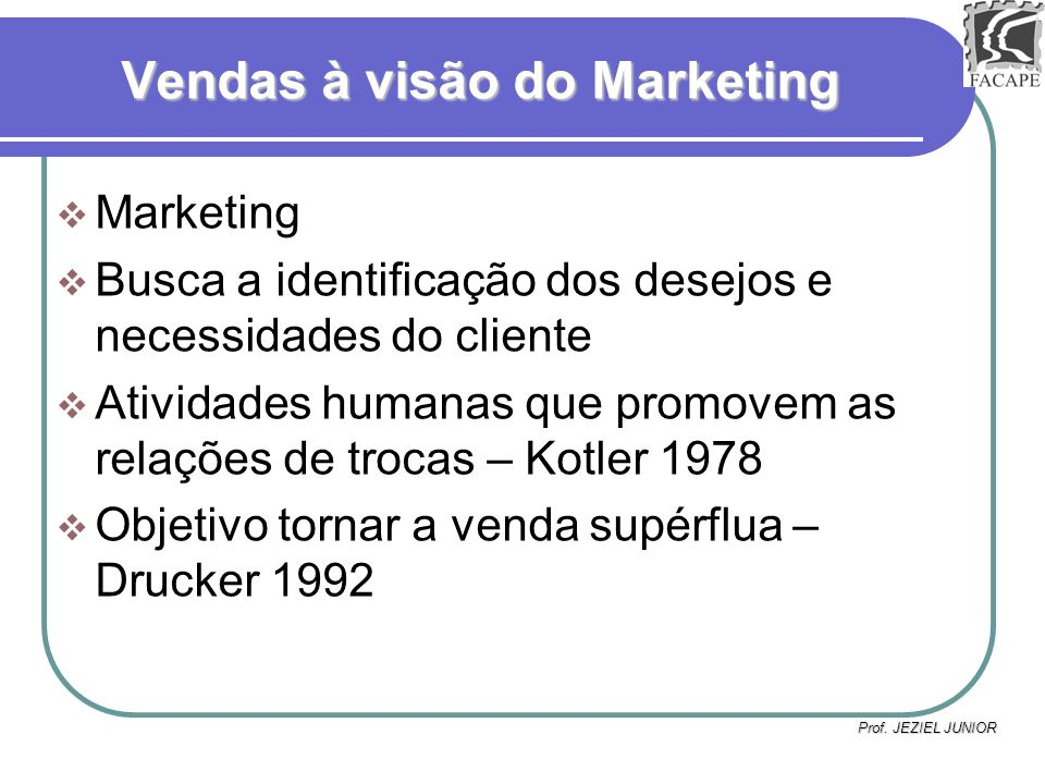 Vendas à visão do Marketing