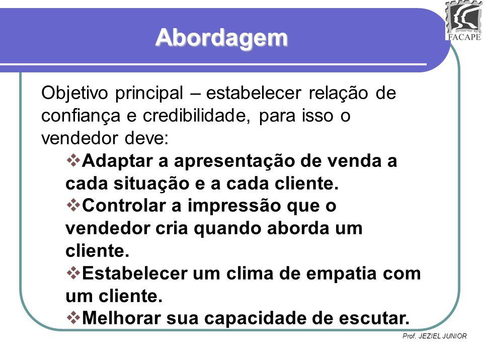 AbordagemObjetivo principal – estabelecer relação de confiança e credibilidade, para isso o vendedor deve: