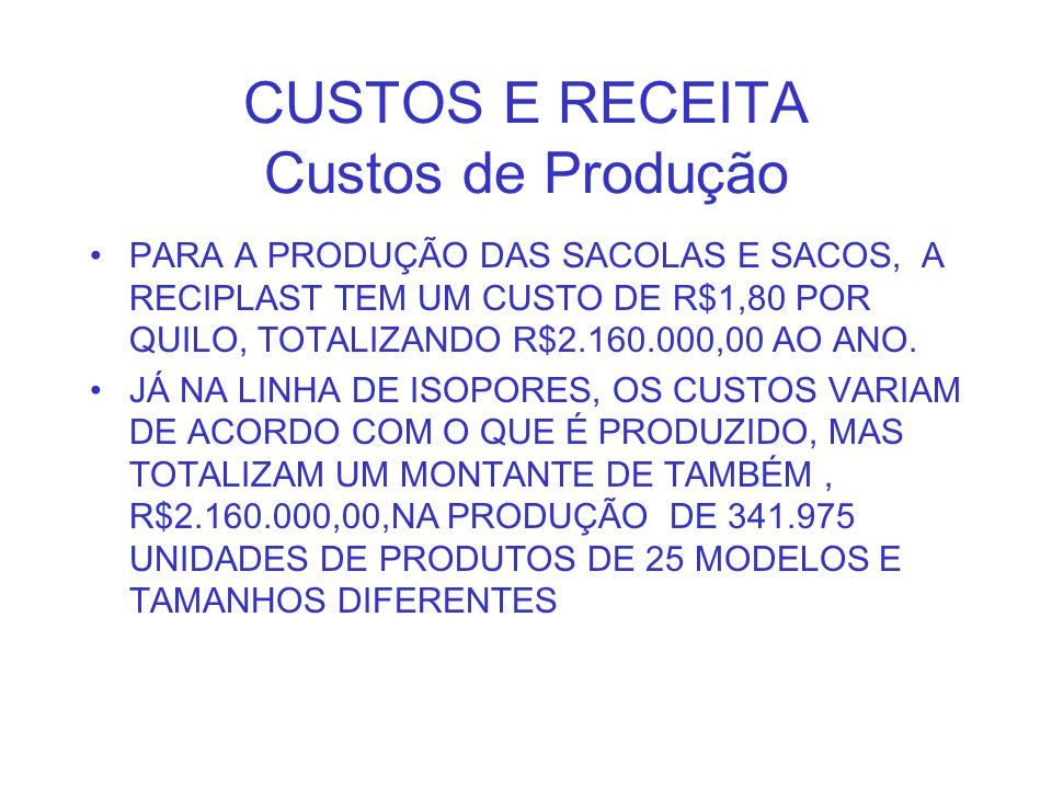 CUSTOS E RECEITA Custos de Produção