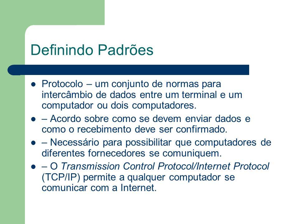 Definindo Padrões Protocolo – um conjunto de normas para intercâmbio de dados entre um terminal e um computador ou dois computadores.