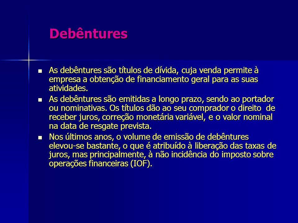 Debêntures As debêntures são títulos de dívida, cuja venda permite à empresa a obtenção de financiamento geral para as suas atividades.