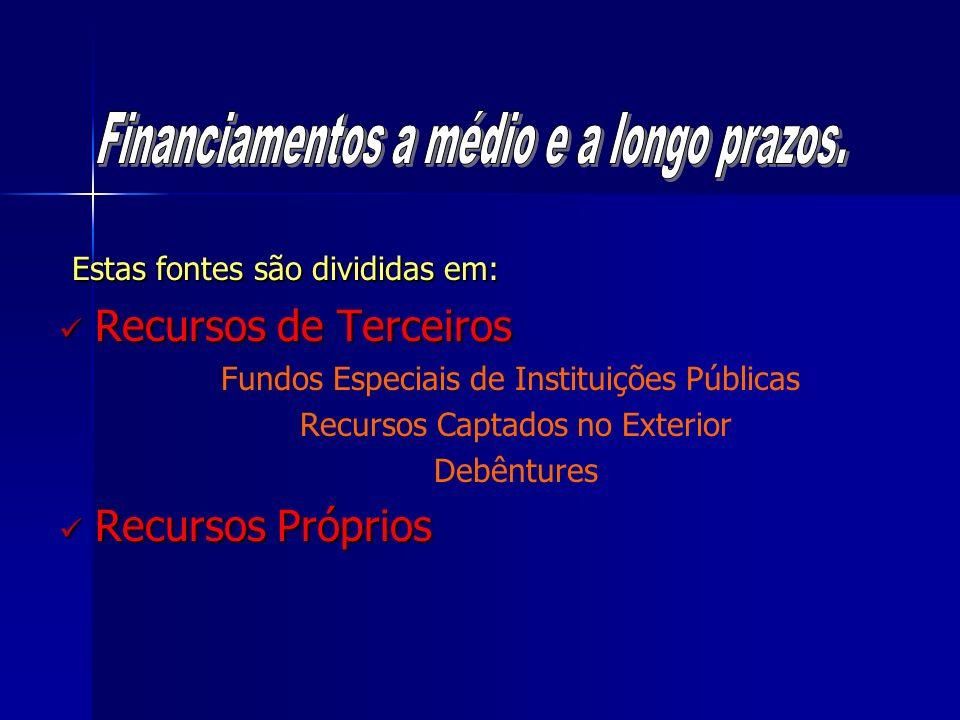 Estas fontes são divididas em: Recursos de Terceiros