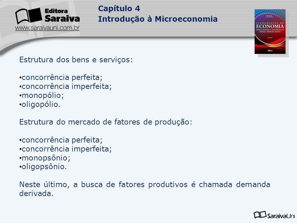 Estrutura dos bens e serviços: concorrência perfeita;