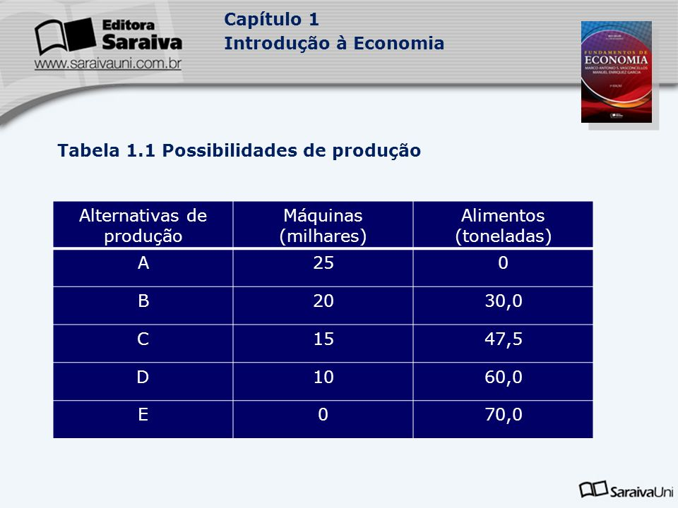 Tabela 1.1 Possibilidades de produção Alternativas de produção