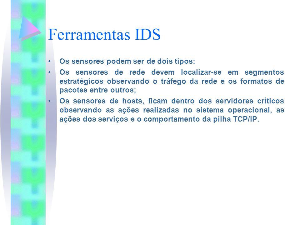 Ferramentas IDS Os sensores podem ser de dois tipos: