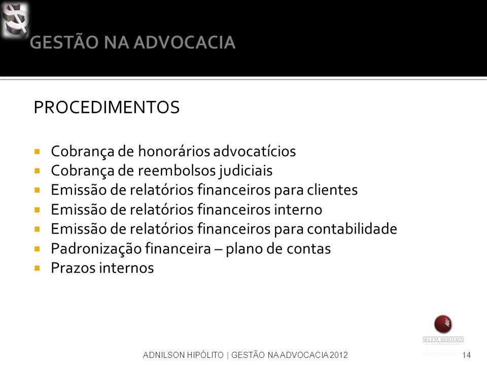 GESTÃO NA ADVOCACIA PROCEDIMENTOS Cobrança de honorários advocatícios